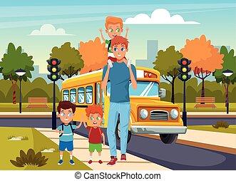 δρόμοs , άντραs , stree , ευτυχισμένος , περίπατος , λεωφορείο , αγέλη ιχθύων αγόρι , πάνω