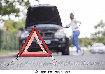 δρόμοs , αυτοκίνητο , αριστερός τριγωνικό σήμαντρο