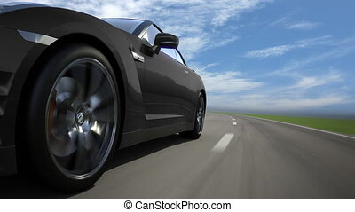 δρόμοs , αυτοκίνητο , loop-ready, μαύρο , συγκινητικός , αγώνισμα