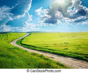δρόμοs , δρομάκι , και , βαθύς , γαλάζιος ουρανός
