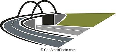 δρόμοs , εικόνα , με , αψίδα γέφυρα