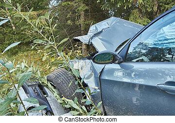 δρόμοs , μετά , ατύχημα , πλευρά , αυτοκίνητο , αντιμετωπίζω