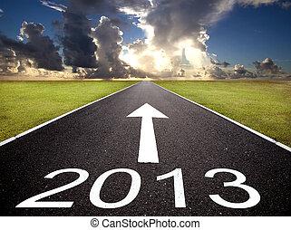δρόμοs , να , ο , 2013, νέο έτος , και , ανατολή , φόντο