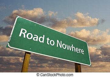δρόμοs , να , πουθενά , πράσινο , δρόμος αναχωρώ