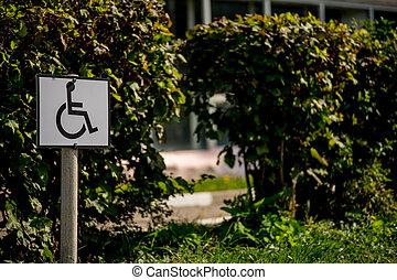 δρόμοs , asphalt., φόντο , σήμα , ανάπηρος , parking.