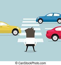 δρόμοs , crosswalk., αναμονή , σταυρός , επιχειρηματίας