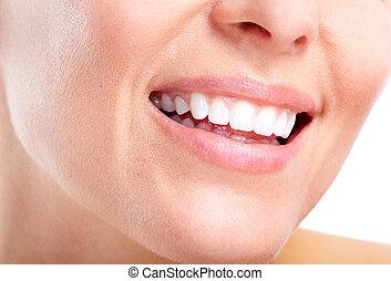 δυναμωτικός γυναίκα , δόντια , και , smile.