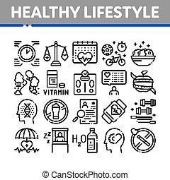 δυναμωτικός lifestyle , μικροβιοφορέας , συλλογή , θέτω , απεικόνιση
