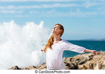 δυναμωτικός lifestyle , σε , ο , θάλασσα