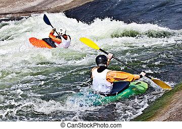 δυο , δραστήριος , kayakers
