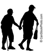 δυο , ηλικιωμένος ακόλουθοι