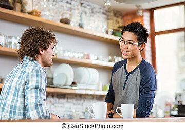 δυο , νέος , ωραία , ανήρ αποκαλύπτω , μέσα , καφετέρια