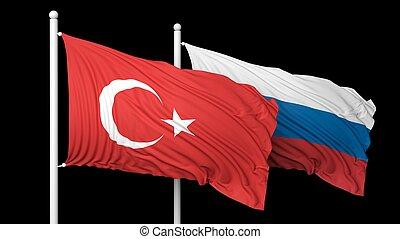 δυο , σημαίες , εναντίον , από , μαύρο φόντο