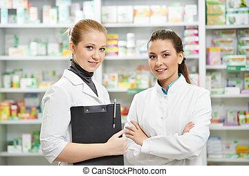 δυο , φαρμακευτική , φαρμακοποιός , γυναίκεs , μέσα , φαρμακείο