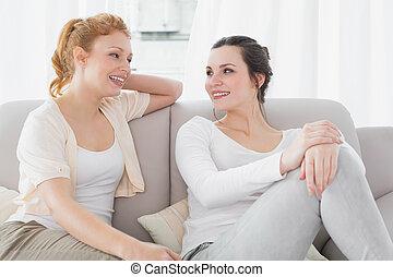 δυο , χαμογελαστά , γυναίκα , φίλοι , βαρύνω αναμμένος καναπές , μέσα , καθιστικό