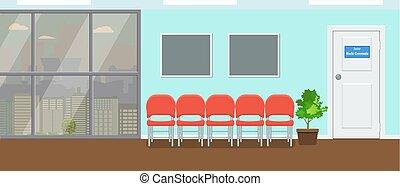 δωμάτιο , ακολουθία. , οδοντιατρικός , ανεκτικός , μεγάλος , αναμονή , μικροβιοφορέας , παράθυρο , cityscape , αντίκρυσμα του θηράματοσ. , illustration.