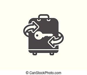 δωμάτιο , αποσκευέs , απλό , αναχωρώ. , αποσκευές αποθήκη , icon.