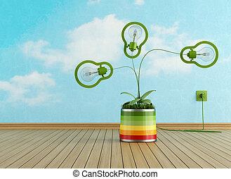 δωμάτιο , γραφικός , βάζο , λάμπα , πράσινο , αδειάζω