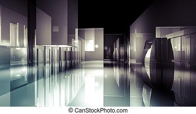 δωμάτιο , κτίριο , αίθουσα , reflects., ανώγειο πάτωμα , 3d , ελαφρείς , αβαρής αρμοδιότητα , σχεδιάζω , μοντέρνος , γενική ιδέα