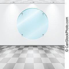 δωμάτιο , με , στρογγυλός , γυαλί , placeholder