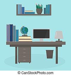 δωμάτιο , μόρφωση , λάμπα , ηλεκτρονικός υπολογιστής , εικόνα , διαμέρισμα , μικροβιοφορέας , γραφείο , student., interior., concept., ρυθμός , αυτό , τραπέζι , γνώση , bookshelf., ή , αγία γραφή , χώρος εργασίας , σφαίρα