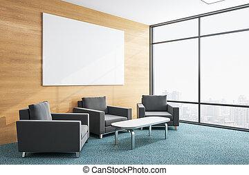 δωμάτιο , πίνακαs ανακοινώσεων , αναμονή , κενό , τρία , έδρα