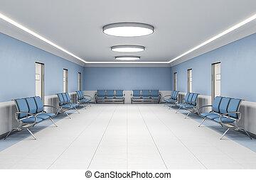 δωμάτιο , σύγχρονος , εσωτερικός , μπλε , νοσοκομείο , αναμονή