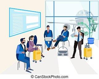 δωμάτιο , isometric , αναμονή , minimalist , μικροβιοφορέας , style., διαμέρισμα , αεροδρόμιο.
