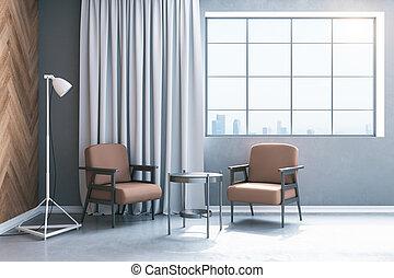 δωμάτιο , minimalistic , τραπέζι , έδρα , δυο , αναμονή