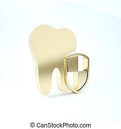 δόντι , εικόνα , render, φόντο. , οδοντιατρικός , logo., προστασία , 3d , αιγίς , εικόνα , χρυσός , απομονωμένος , άσπρο