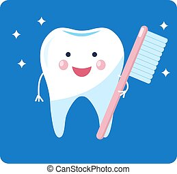 δόντι , character., λαμπερός , υγιεινός , χαριτωμένος , γελοιογραφία , tooth.