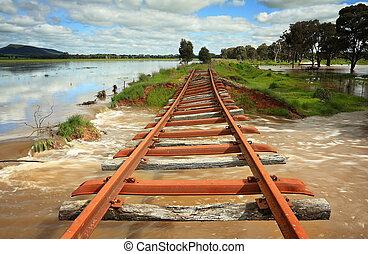 δύναμη , από , νερά πλημμύρας , τοπίο , αυστραλία