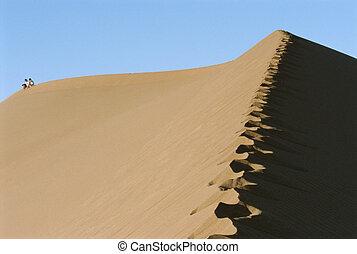 δύο άνθρωποι , ιππασία , ένα , καμήλα , απέναντι , εγκαταλείπω , hoofprints , μέσα , foregroun