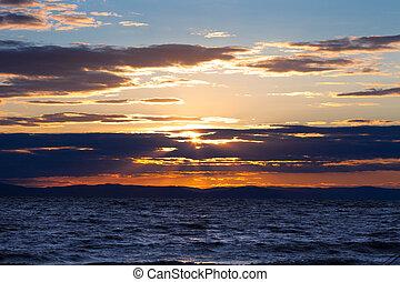 δύση ηλίου , θαλασσογραφία