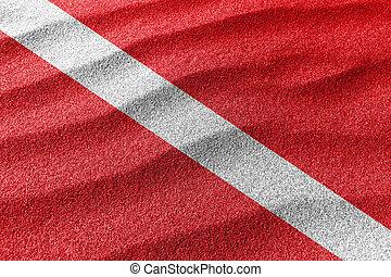 δύτης , κάτω , άμμοs , σημαία , σημαία , κάνω βουτιά