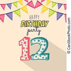 δώδεκα , γενέθλια , αριθμόs , κάρτα , κερί