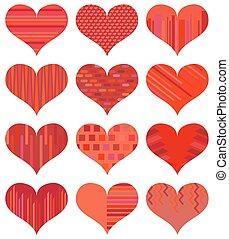δώδεκα , διαφορετικός , θέτω , απομονωμένος , φόντο. , hearts., αγάπη , αγαθός αριστερός