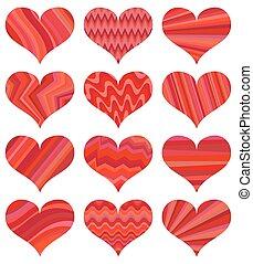 δώδεκα , διαφορετικός , θέτω , απομονωμένος , hearts., φόντο , αγάπη , αγαθός αριστερός