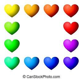δώδεκα , ουράνιο τόξο , χρώμα , σχήμα , αγάπη , ορθογώνιο