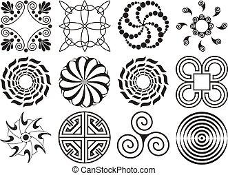 δώδεκα , στοιχεία , & , σχεδιάζω , καμπύλος , άσπρο , εγκύκλιος , μαύρο