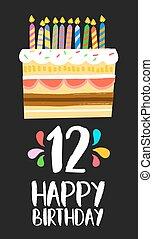 δώδεκα , 12 , γενέθλια , έτος , κέηκ , πάρτυ , κάρτα , ευτυχισμένος