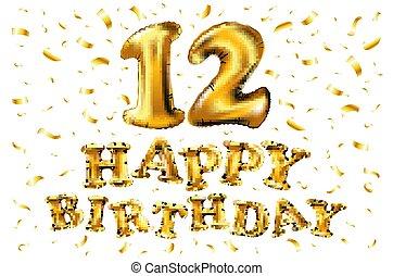 δώδεκα , 12 , γραφικός , χρυσός , & , ευφυείς , επέτειος , ζωντανός , εορτασμόs , σχεδιάζω , εικόνα , confetti., μοναδικός , μπαλόνι , δικό σου , 3d
