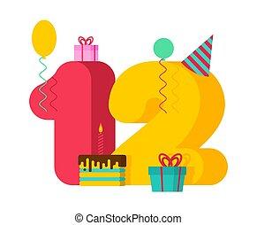 δώδεκα , 12 , δώρο , εορταστικός , 12th , balloon, αριθμόs , χαιρετισμός , επέτειος , box., candle., birthday., έτος , γλύκισμα δείγμα , template., κάρτα , εορτασμόs
