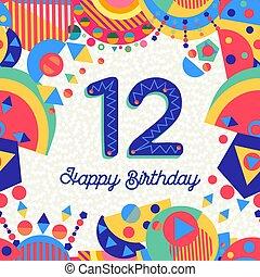 δώδεκα , 12 , χαιρετισμός , αριθμόs , γενέθλια , έτος , πάρτυ , κάρτα