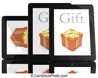 δώρο , επάνω , οθόνη , από , δισκίο , ηλεκτρονικός υπολογιστής , 3d