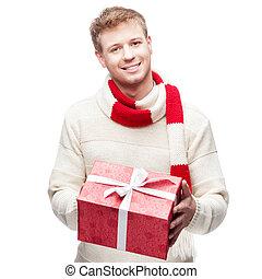 δώρο , νέος , ελκυστικός , κράτημα , κόκκινο , άντραs