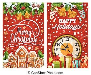δώρο , ρολόι , κουλουράκι , έτος , καινούργιος , χριστούγεννα , κάρτα