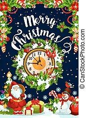 δώρο , ρολόι , στεφάνι , έτος , καινούργιος , χριστουγεννιάτικη κάρτα