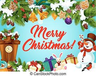 δώρο , ρολόι , χαιρετισμός , έτος , καινούργιος , χριστουγεννιάτικη κάρτα