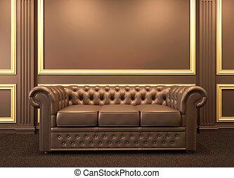 είδος καναπέ , μοντέρνος , καναπέs , μέσα , ξύλινος , εσωτερικός , με , χρυσός , κορνίζα